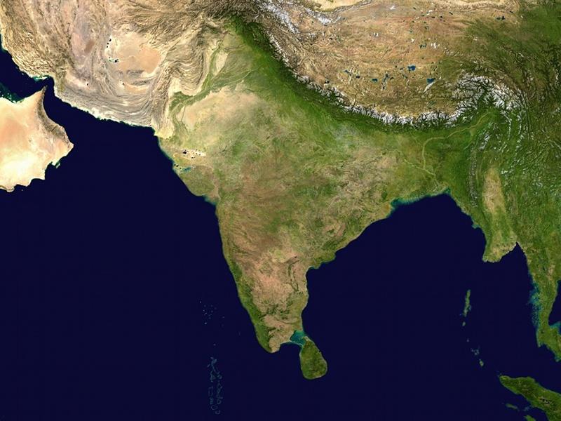 Satellite image of India, NASA Blue Marble