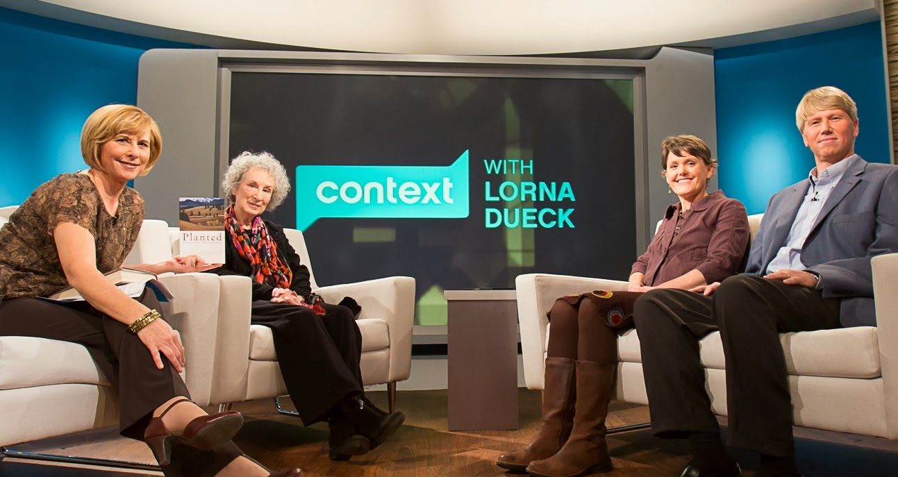 Left to right: Lorna Dueck, Margaret Atwood, Leah and Markku Kostamo