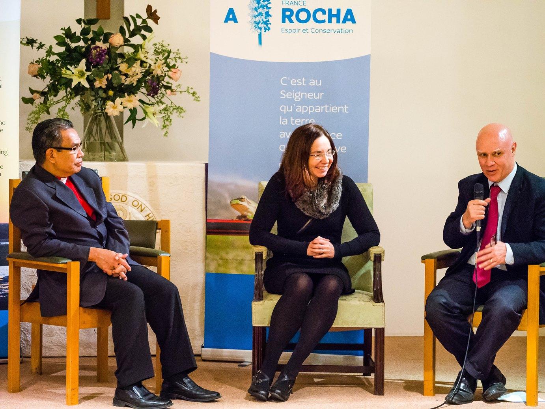 Bishop Efraim Tendero and Dr Katharine Hayhoe being interviewed by Dave Bookless